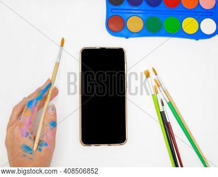 Female Hand With Brush And Acrylic Painting, Smart Phone For Creative Education App, Empty Blank Moc