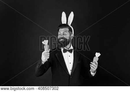 Do You Want My Carrots. Easter Bunny Bringing Carrots. Happy Businessman Hold Carrots. Healthy Eatin