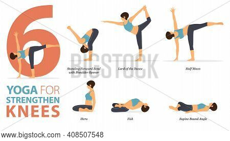 Infographic 6 Yoga Poses For Workout In Concept Of Strengthen The Knees In Flat Design. Women Exerci