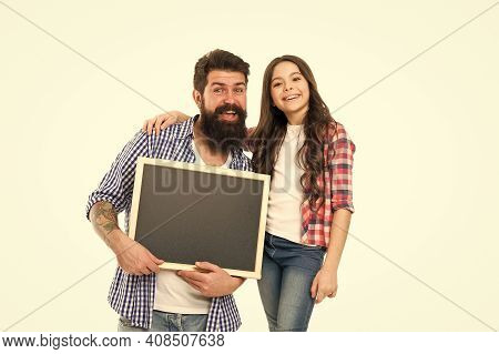 Creative Family. Spend Family Day Here. Little Girl With Dad Isolated On White. Happy Childhood. Bac