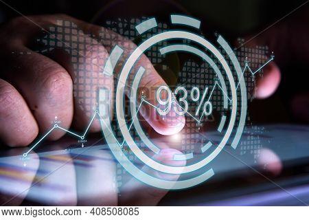 Businessman Hands Using Report On Digital Tablet Screen With Percent Statistics Hologram. Finance An