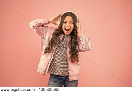 She Feels Really Happy. Emotional Singer. Enjoying Song Playing In Headphones. Karaoke And Entertain