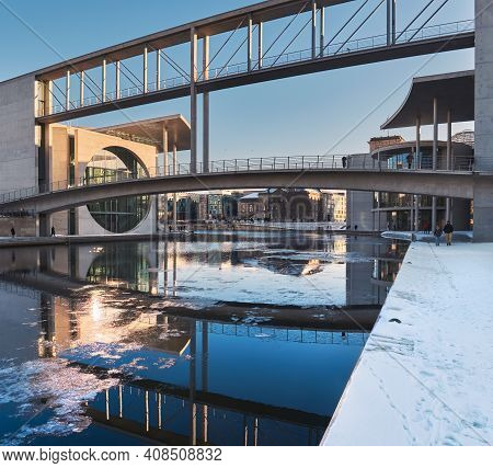 Pier Paul-loebe-haus Reichstag. Winter View With Reflection. Paul-loebe-haus And Marie-elisabeth-lue