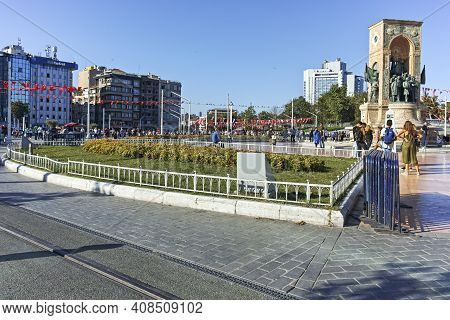The Republic Monument At Taksim Square In Istanbul, Turkey