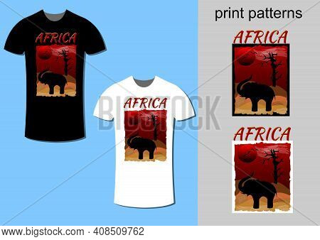 T-shirt Design With Africa Dessert Theme, Modified For Printing On White Or Black T-shirt, Vector Fa
