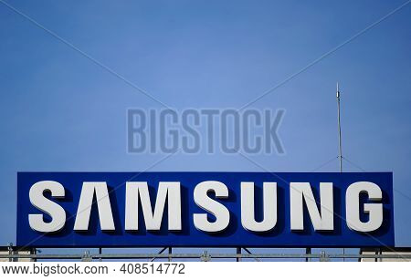 Bucharest, Romania - January 21, 2021: A Logo Of Samsung, South Korean Multinational Conglomerate, I