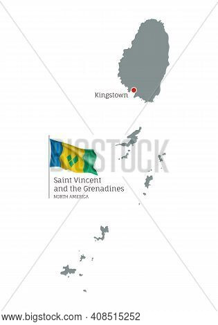 Silhouette Of Vincent And Grenadines Country Map. Gray Editable Map With Waving National Flag And Ki
