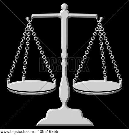 Silver Scales of Justice Illustration Isolated on Black with Clipping Path
