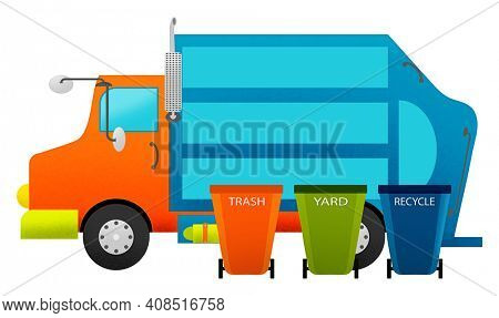 Colorful Trash Truck and Garbage Cans Illustration Isolated on White with Clipping Path