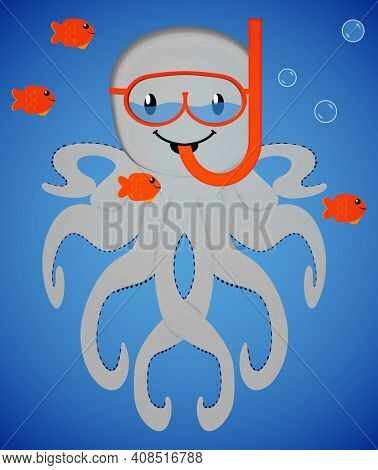 Snorkeling Octopus with Mask Full of Water and Goldfish Buddies with Clipping Path Isolated on Blue