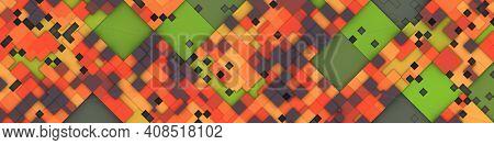 An illustration of a wide modern color tiles background banner