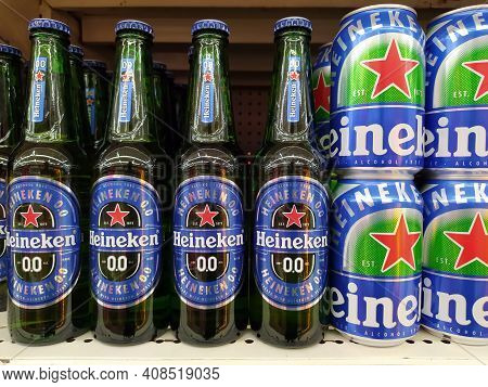Chiang Mai - Thailand, February 12, 2021 : Non-alcoholic Beer Version Of Heineken Beer Glass Bottles