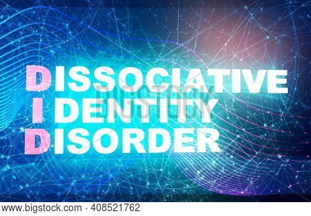 Acronym Did - Dissociative Identity Disorder. Helthcare Conceptual Image. 3d Rendering. Neon Bulb Il