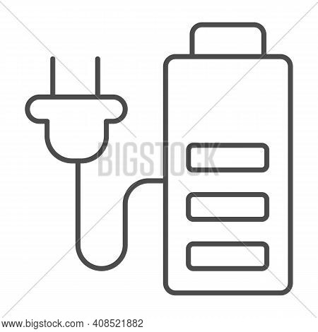 Battery And Cord With Plug Thin Line Icon, Electric Car Concept, Charge Symbol On White Background,
