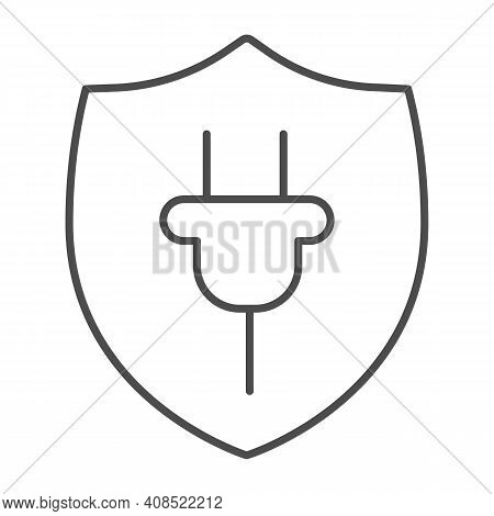 Protection Emblem And Plug Thin Line Icon, Electric Car Concept, Protect Alternative Electrical Ener