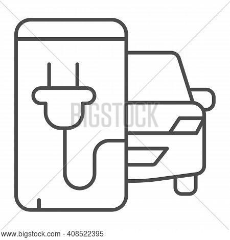 Electric Car And Smartphone With Plug Thin Line Icon, Electric Car Concept, Monitoring Electric Car