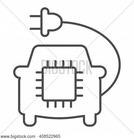 Car With Plug And Processor Chip Thin Line Icon, Electric Car Concept, Car Circuit Board Sign On Whi