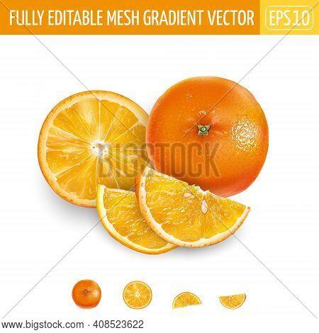 Whole Orange And Sliced On A White Background.