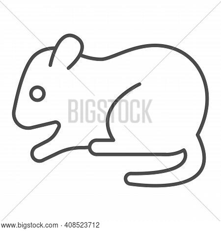 Hamster Thin Line Icon, Domestic Animals Concept, Rodent Sign On White Background, Hamster Silhouett