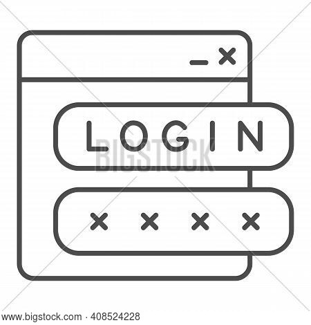 Webpage With User Authorization Thin Line Icon, Web Security Concept, Login Form Sign On White Backg