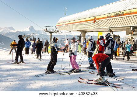 Skiers At Kronplatz Ski Resort