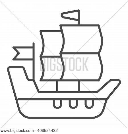 Ship Of Conquistadors Thin Line Icon, Thanksgiving Day Concept, Sailing Ship Sign On White Backgroun