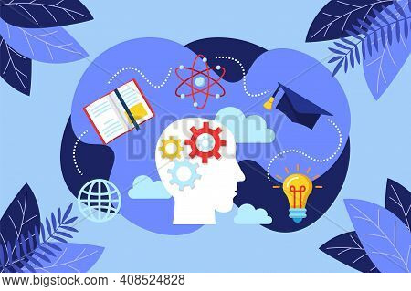 Brainstorming Process Concept. Creative Innovative Knowledge Thinking, Genius Imagination And Busine