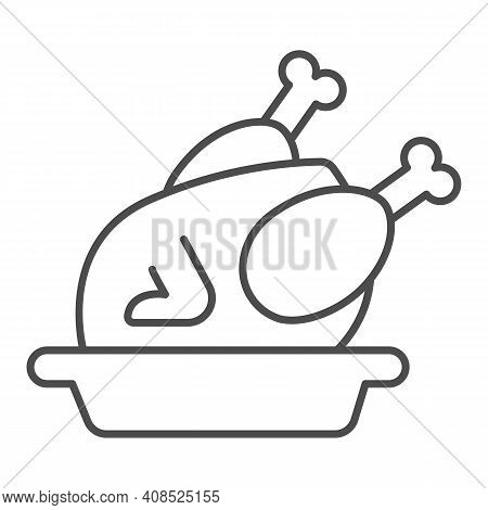 Roasted Turkey In Plate Thin Line Icon, Thanksgiving Day Concept, Roasted Chicken Sign On White Back