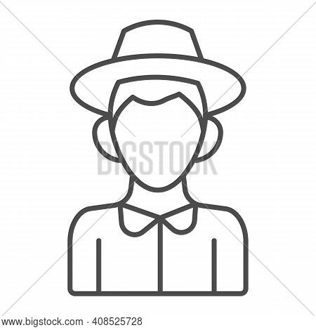 Farmer Boy Thin Line Icon, Thanksgiving Day Concept, Peasant In Hat Sign On White Background, Charac