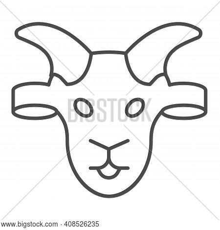 Goat Head Thin Line Icon, Domestic Animals Concept, Domestic Goat Sign On White Background, Sheep Si