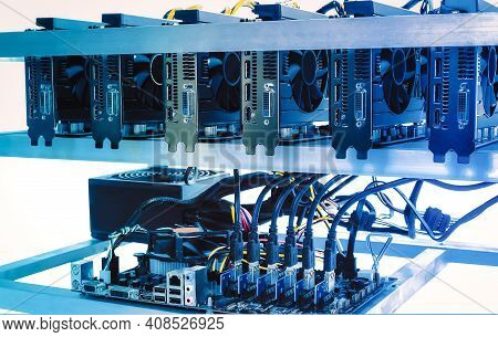 Cryptocurrency Bitcoin Ethereum Altcoin Graphic Card Miner Mining Rig. Computer For Bitcoin Mining,