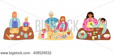 Parents And Kids Easter Pastime Scenes. Mama, Granny Teaches Theirs Little Girls, Boys To Decorate E