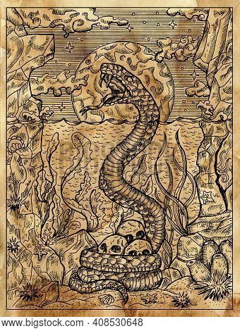 Textured Marine Illustration With Sacry Snake, Seascape And Human Skulls Against Full Moon.  Nautica