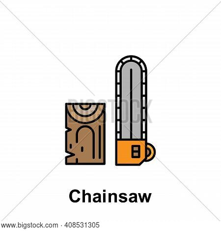 Chainsaw Outline Icon. Element Of Labor Day Illustration Icon. Signs And Symbols Can Be Used For Web