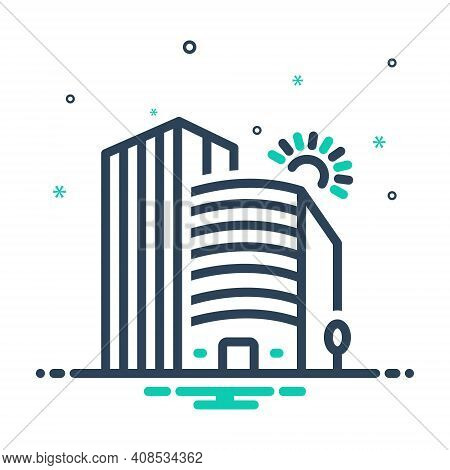 Mix Icon For Company Corporate Office Building Business Association Architecture Apartment Residenti