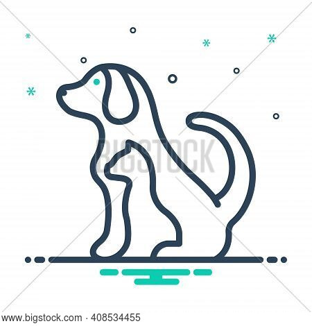 Mix Icon For Pet Tame Dog Domestic Animal Cherished Endearing