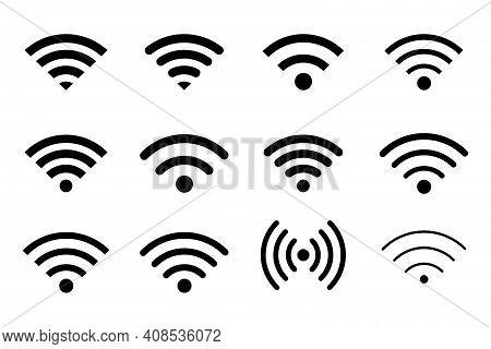 Wifi Signal Icon. Wifi Signal Symbol. Free Wifi Black Color Network Symbol For Public Zon Or Mobile