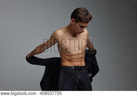 Nice Man Nude Torso Black Shirt In The Hands Of Moda Studio Attractiveness