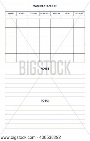 Daily Weekly Monthly Personal Planner Diary Template In Classic Strict Style. Individual Schedule In