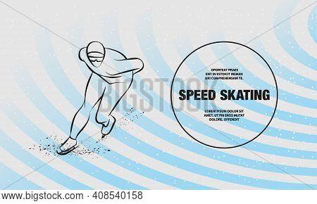 Speed Skater. Vector Outline Of Winter Sport Illustration.