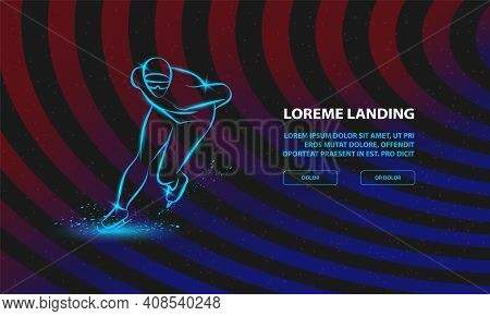 Speed Skater. Vector Winter Sport Background For Landing Page Template.