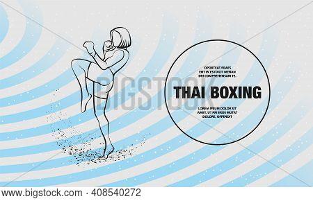 Muay Thai Boxing Fighter Woman Kick Knee. Vector Outline Of Muay Thai Boxing Sport Illustration.