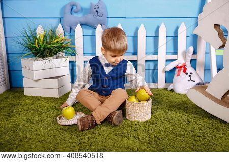 Portrait Of Adorable Funny Boy. Picnic In Nature. Kid Is Gathering Autumn Fall Harvest. Cute Funny L