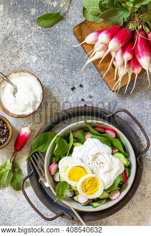 Fresh Spring Food, Healthy Vegan Lunch Bowl. Spinach, Cucumber, Radish Salad And Boiled Eggs With So