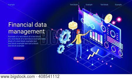 Analyst On Management Process. Analytics Dashboard. Charts Key Server Statistic, Performance Indicat