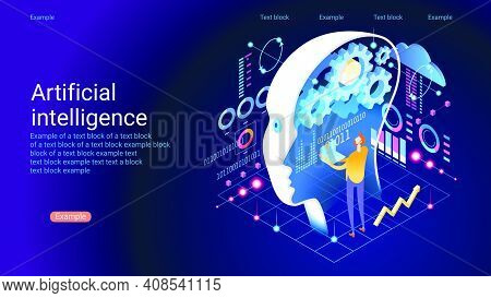 Machine Learning, Artificial Intelligence, Digital Brain And Artificial Thinking Process Concept. Sc