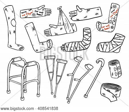 Set Of Crutches For Disabled People With Broken Legs, Arms And Hands Cast Doodles. Collection Of Inj