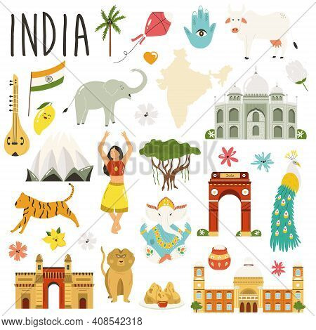 Set Of Famous Symbols, Landmarks, Animals Of India. Vector Flat Collection