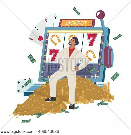 Happy Gambler Standing On Money Pile In Front Of Slot Machine, Flat Vector Illustration. Lucky Rich