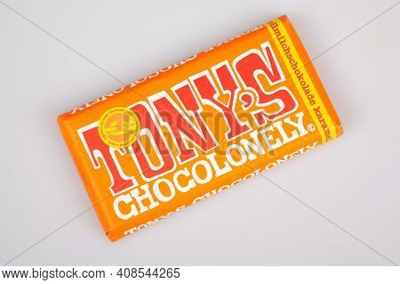 Bordeaux , Aquitaine France - 02 13 2021 : Tonys Chocolonely Milk Chocolate Bar With Brand Text Logo